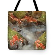 Digital Watercolor Painting Of Blurred Water Detail With Rocks N Tote Bag