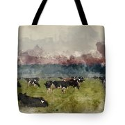 Digital Watercolor Painting Of Cattle In Field During Misty Sunr Tote Bag