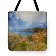 Digital Watercolor Painting Of Lizard Point And Lighthouse, The  Tote Bag
