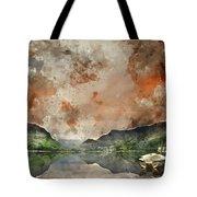 Digital Watercolor Painting Of Llyn Nantlle At Sunrise Looking T Tote Bag
