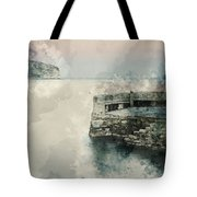 Digital Watercolor Painting Of Peaceful Landscape Of Stone Jetty Tote Bag