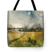 Digital Watercolor Painting Of Stunning Countryside Landscape Wh Tote Bag