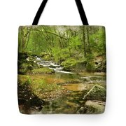 Digital Watercolor Painting Of Stunning Landscape Iamge Of River Tote Bag