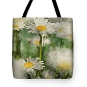 Digital Watercolor Painting Of Wild Daisy Flowers In Wildflower  Tote Bag