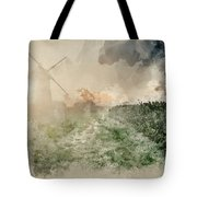 Digital Watercolor Painting Of Windmill In Stunning Landscape On Tote Bag