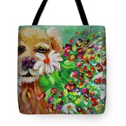 Dog With Flowers Tote Bag by Jacqueline Athmann