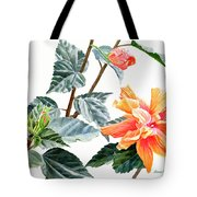 Double Orange Hibiscus With Buds Tote Bag