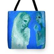 Double Portrait On Blue Sky Tote Bag