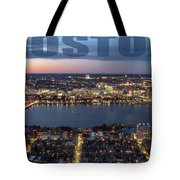 Downtown Boston At Night With Charkes River In The Middle Tote Bag