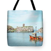 Dunbar Castle Ruins, Harbour And Fishing Boats Tote Bag