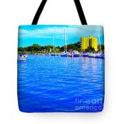Dunkirk New York Harbor With Neon Effect By Rose Santucisofranko Tote Bag by Rose Santuci-Sofranko