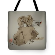 Duo Of Elephants Tote Bag