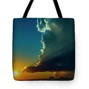 Dying Nebraska Thunderstorms At Sunset 068 Tote Bag