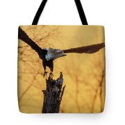 Eagle Flying Off Tote Bag by Steven Santamour