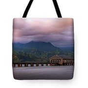 Early Morning At The Hanalei Pier Tote Bag by John Hight