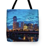 Early Morning Panorama Of Downtown Austin From South Lamar Bridge Over Lady Bird Lake - Austin Texas Tote Bag