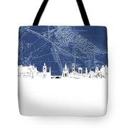 Edinburgh Skyline Map Blue Tote Bag