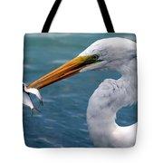 Egret Feeding  Tote Bag