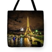Eiffell Tower At Night After The Storm Passed Tote Bag
