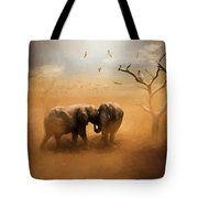 Elephants At Sunset 072 - Painting Tote Bag