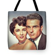 Elizabeth Taylor And Montgomery Clift, Hollywood Legends Tote Bag