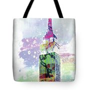 Empire State Building Colorful Watercolor Tote Bag