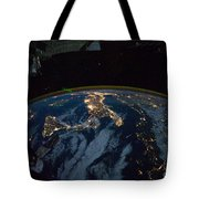 Italy From Space At Night Tote Bag