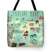 Exlore More World Map Tote Bag