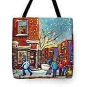 Face Off Street Hockey At The Corner Dep Snow Falling Streets Of Montreal Quebec Artist C Spandau Tote Bag
