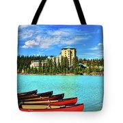 Fairmont Chateau Lake Louise Tote Bag by Ola Allen