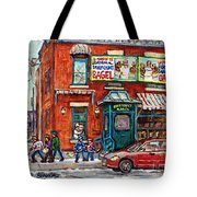 Fairmount Bagel Bakery Laneway Hockey Art Depanneur Winter Scenes C Spandau Montreal Landmark Stores Tote Bag