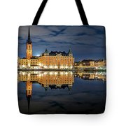 Fantastic Stockholm City Hall And Gamla Stan Reflection With Clouds Tote Bag