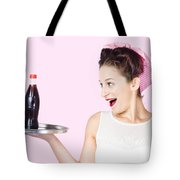 Fifties Style Female Waiter Serving Up Soda Tote Bag