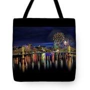 Fireworks And Tillikum Crossing Tote Bag