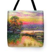 Fishing In Evening Glow Tote Bag