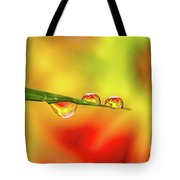 Flower In Water Droplet Tote Bag