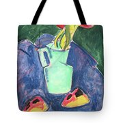 Flowers In A Green Vase On Purple Cloth Tote Bag
