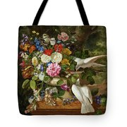 Flowers In A Vase With Two Doves Tote Bag