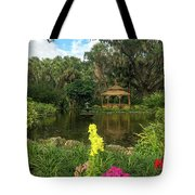Flowers To Gazebo By The Lake Tote Bag by Claire Turner