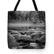 Fog On Yosemite River Tote Bag