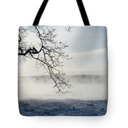 Fog Over The River Tote Bag