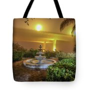 Foggy Fountain And Bridge Tote Bag by Tom Claud
