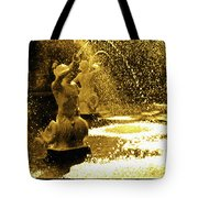Forsyth Park Tritons In A Cascade Of Gold Tote Bag