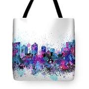 Fort Worth Skyline Color Splatter Tote Bag