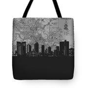 Fort Worth Skyline Map Grey Tote Bag