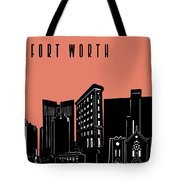 Fort Worth Skyline Panorama Red Tote Bag