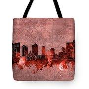 Fort Worth Skyline Vintage Red Tote Bag