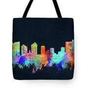 Fort Worth Skyline Watercolor Black Tote Bag