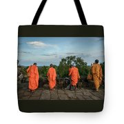Four Monks And A Phone. Tote Bag