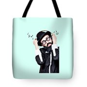 Funny Man Wearing Headphone On Blue Background Tote Bag